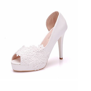 cheap Wedding Shoes-Women's Wedding Shoes Summer Pumps Peep Toe Wedding Daily PU White