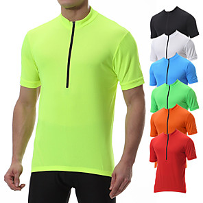 cheap Running & Jogging Clothing-21Grams Men's Short Sleeve Cycling Jersey Polyester Black Yellow Blue Solid Color Bike Tee Tshirt Jersey Top Mountain Bike MTB Road Bike Cycling Breathable Quick Dry Back Pocket Sports Clothing