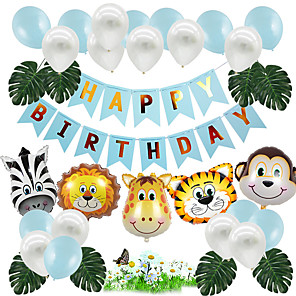 cheap Christmas Decorations-Party Balloons 25+9 pcs Animal Series Lion Zebra Party Supplies Latex Balloons Banner Boys and Girls Party Birthday Decoration 10inch for Party Favors Supplies or Home Decoration