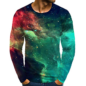 cheap LED String Lights-Men's Daily Plus Size T-shirt Graphic Print Long Sleeve Tops Basic Exaggerated Round Neck Rainbow