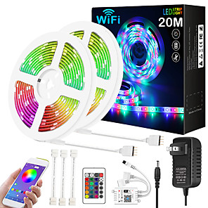 cheap LED Strip Lights-ZDM Upgraded 65ft 2*10 Meters WIFI App Intelligent Control 5050 RGB LED Soft Strip Light with IR 24 Key Controller or DC12V Adapter Kit