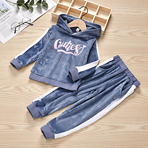 cheap 3D Night Lights-Kids Girls' Basic Chinoiserie Daily Wear Festival Striped Solid Colored Long Sleeve Regular Regular Clothing Set Gray