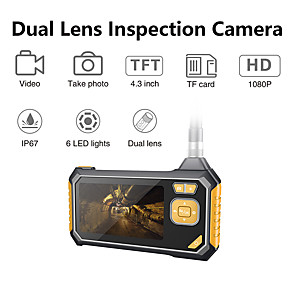 cheap Microscopes & Endoscopes-1080P Dual Lens Industrial Endoscope Inspection Camera Portable Handheld Borescope Videoscope with 4.3 ''LCD