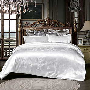cheap High Quality Duvet Covers-Duvet Cover Sets 3 Piece Rayon / Polyester Floral / Botanical White Printed & Jacquard Luxury / 600 / 3pcs (1 Duvet Cover, 2 Shams)