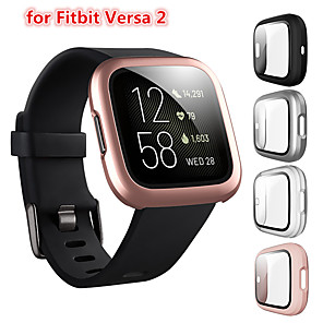 cheap Smartwatch Bands-Screen Protector Compatible Fitbit Versa 2 Case Frosted PC Ultra-Thin Slim Tempered Glass Protective Case All-Around Full Cover Bumper Shell for Fitbit Versa 2 Smart Watch