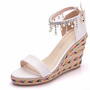 cheap Women's Sandals-Women's Sandals Summer Wedge Heel Peep Toe Daily PU White