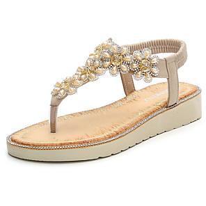 cheap Women's Sandals-Women's Sandals Summer Flat Heel Open Toe Daily PU Almond / Black