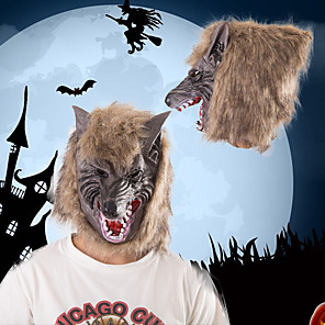 cheap Halloween Toys-Halloween Party Toys Masks Costume Hooded Masks 2 pcs Thrilling Werewolf Masquerade Vinyl Adults Trick or Treat Halloween Party Favors Supplies