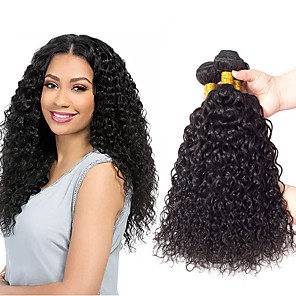 cheap Tools & Accessories-3 Bundles Hair Weaves Indian Hair Kinky Curly Human Hair Extensions Remy Human Hair 100% Remy Hair Weave Bundles 300 g Natural Color Hair Weaves / Hair Bulk Human Hair Extensions 8-28 inch Natural