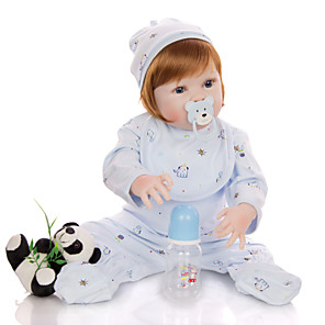 cheap Reborn Doll-KEIUMI 22 inch Reborn Doll Baby & Toddler Toy Reborn Toddler Doll Baby Boy Gift Cute Washable Lovely Parent-Child Interaction Full Body Silicone 23D64-C440-T11 with Clothes and Accessories for Girls