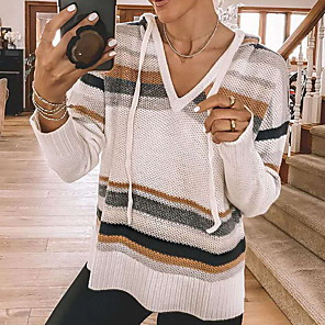 cheap Smartwatches-Women's Striped Pullover Long Sleeve Sweater Cardigans Hooded White