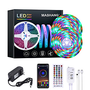 cheap LED Strip Lights-MASHANG 32.8ft 10M RGB LED Strip Lights Waterproof Music Sync Smart LED Tiktok Lights 540LEDs 2835 Color Changing with 40 keys Remote Bluetooth Controller for Home Bedroom TV Back Lights DIY Deco