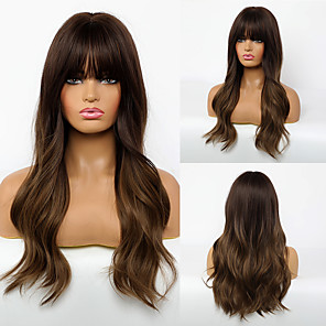 cheap Synthetic Trendy Wigs-Synthetic Wig Body Wave Layered Haircut Wig Long Synthetic Hair 24 inch Women's Fashionable Design Life Women Brown