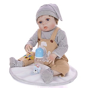 cheap Reborn Doll-KEIUMI 22 inch Reborn Doll Baby & Toddler Toy Reborn Toddler Doll Baby Boy Gift Cute Washable Lovely Parent-Child Interaction Full Body Silicone 23D19-C238 with Clothes and Accessories for Girls