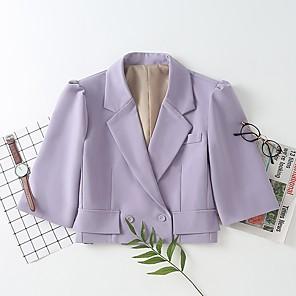 cheap Costume Wigs-Women's Notch lapel collar Blazer Solid Colored Purple XS / S / M