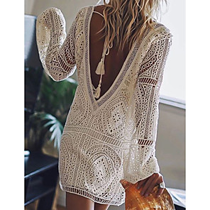 cheap Women's Sandals-Women's Short Mini Dress - Long Sleeve Solid Color Lace Backless Summer Deep V Sexy Vacation Beach Lace White Black Red Royal Blue S M L XL XXL