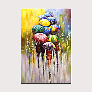 cheap Abstract Paintings-Modern Abstract Art Hand-Painted Canvas Rain Street Umbrella Oil Painting Wall Art Bedroom Living Room Decoration Rolled Canvas