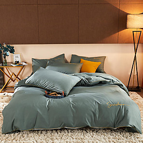 cheap Solid Duvet Covers-Light Luxury Fashion Solid Color Manual Embroidered Colorful Bedding Bedding Set Quilt Cover Bed Sheet Cover Pillowcases Cover Set 4pcs