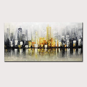 cheap Prints-Mintura  Large Size Hand Painted Abstract City Landscape Oil Paintings On Canvas Modern Pop Art Posters Wall Picture For Home Decoration No Framed Rolled Without Frame