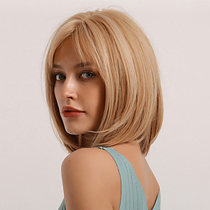cheap Synthetic Trendy Wigs-Synthetic Wig Bangs Natural Straight Side Part Neat Bang With Bangs Wig Short Brown Blonde Synthetic Hair 14 inch Women's Cosplay Women Synthetic Blonde Brown BLONDE UNICORN