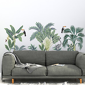 cheap Wall Stickers-Green Plant Wall Stickers Decorative Wall Stickers, PVC Home Decoration Wall Decal Wall Decoration / Removable