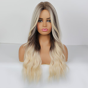 cheap Costume Wigs-Synthetic Wig Cosplay Wig Body Wave Loose Curl Pixie Cut Middle Part Wig Very Long Dark Brown Synthetic Hair 26 inch Women's Party Wedding Ombre Hair Dark Brown Gray