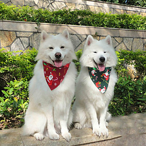 cheap Dog Clothes-Dog Cat Bandanas & Hats Dog Bandana Dog Bibs Scarf Cartoon Floral Botanical Party Cute Christmas Party Dog Clothes Adjustable White / Red Red / Green White Costume Cotton