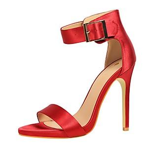 cheap Women's Sandals-Women's Sandals Summer Stiletto Heel Open Toe Daily PU White / Black / Purple