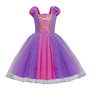cheap Movie & TV Theme Costumes-Rapunzel Dress Masquerade Flower Girl Dress Girls' Movie Cosplay A-Line Slip Cosplay Halloween Purple Dress Halloween Carnival Masquerade Tulle Cotton
