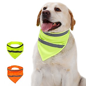 cheap Dog Clothes-Dog Cat Bandanas & Hats Dog Bandana Dog Bibs Scarf Solid Colored Casual / Sporty Fashion Sports Casual / Daily Dog Clothes Adjustable Yellow Orange Costume Cotton Polyster S M L