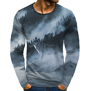 cheap LED String Lights-Men's Daily Plus Size T-shirt Graphic Animal Print Long Sleeve Tops Basic Exaggerated Round Neck Rainbow