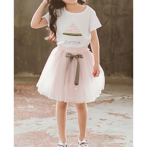 cheap Kids' Sandals-Toddler Girls' Basic Fruit Short Sleeve Clothing Set White