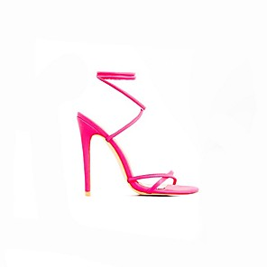 cheap Women's Sandals-Women's Sandals Summer Stiletto Heel Open Toe Daily Solid Colored PU Black / Fuchsia / Orange