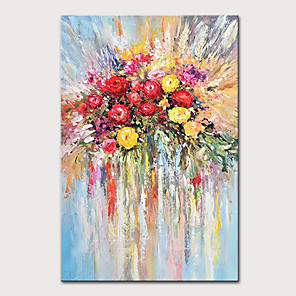 cheap Floral/Botanical Paintings-Mintura Hand Painted Flowers Oil Paintings on Canvas Modern Abstract Wall Picture Pop Art Posters For Home Decoration Ready To Hang