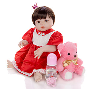 cheap Stuffed Animals-KEIUMI 22 inch Reborn Doll Baby & Toddler Toy Reborn Toddler Doll Baby Girl Gift Cute Washable Lovely Parent-Child Interaction Full Body Silicone 23D01-C156-H132-T14 with Clothes and Accessories for