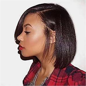 cheap Human Hair Wigs-Human Hair Lace Front Wig Side Part style Brazilian Hair Yaki Straight Black Wig 130% Density Classic Women Fashion Women's Short Human Hair Lace Wig Clytie