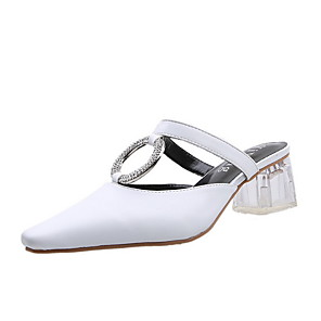 cheap Women's Sandals-Women's Clogs & Mules Summer Cuban Heel Round Toe Daily Solid Colored PU White / Black / Beige