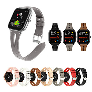 cheap Smartwatch Bands-Genuine Leather Watchband for Amazfit GTR 42mm / Amazfit GTR 47mm / Amazfit GTS / Amazfit Bip / Amazfit Pace breathable Solid color Band adjustable Wristband