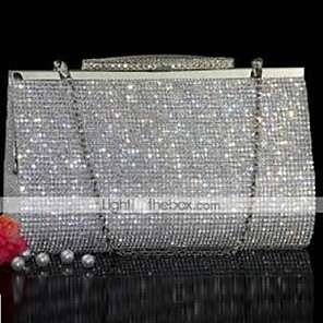 cheap Women's Heels-Women's Bags PU Leather Evening Bag Crystals for Event / Party Gold / Silver / Wedding Bags