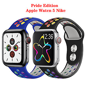 cheap Smartwatch Bands-Colours Rainbow Strap Apple Watch Band 44 mm 40mm iwatch Band 42mm 38mm Pride Edition Silicone Bracelet Apple Watch Series 5 4 3 2 1