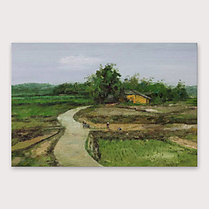 cheap Abstract Paintings-IARTS®Hand Painted Village Oil Painting   with Stretched Frame For Home Decoration