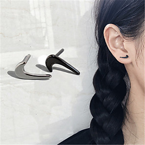cheap Costume Wigs-Women's Stud Earrings Classic Hammer Stylish Gold Plated Earrings Jewelry Black / Silver / White For Wedding Party Gift Daily Work 1 Pair