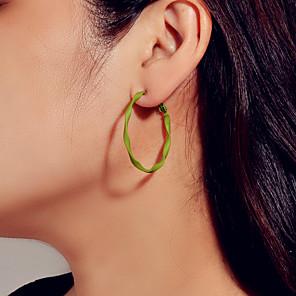 cheap Costume Wigs-Women's Hoop Earrings Geometrical Trendy Earrings Jewelry Green For Date Festival