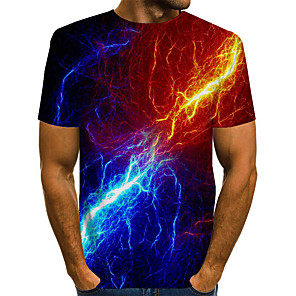 cheap LED Strip Lights-Men's T-shirt Abstract Graphic Print Short Sleeve Tops Basic Exaggerated Round Neck Purple Red Green