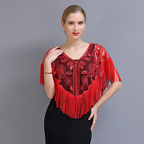 cheap Wedding Wraps-Short Sleeve Capes POLY Wedding / Party / Evening Women's Wrap With Pattern / Paillette
