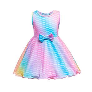 cheap Movie & TV Theme Costumes-Kids Toddler Girls' Sweet Cute The Little Mermaid Geometric Cartoon Bow Sleeveless Knee-length Dress Blushing Pink