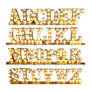 cheap Christmas Decorations-26 Letter Alphabet LED Marquee Sign Light Indoor Wall Hanging Night Lamp Indoor Decor Wedding Party LED Night Light Wedding Birthday Party Battery Powered Christmas Lamp Home Bar Decoration 1pc