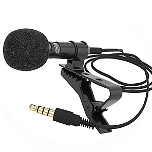 cheap Microphones-Microphone Clip-on Collar Tie Mobile Phone Lavalier Microphone Mic for ios Android Cell Phone Laptop Tablet Recording
