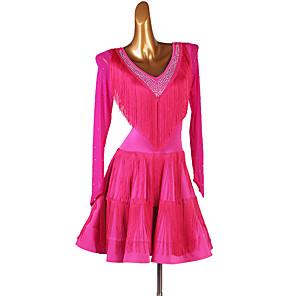 cheap Latin Dancewear-Latin Dance Dress Tassel Split Joint Women's Training Long Sleeve High Spandex