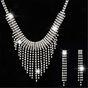 cheap Jewelry Sets-Women's White AAA Cubic Zirconia Stud Earrings Choker Necklace Bridal Jewelry Sets Tennis Chain Mini Stylish Luxury Earrings Jewelry Silver For Wedding Party Engagement 1 set